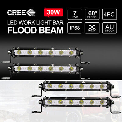 "4X 7"" inch 30W FLOOD LED Light Bar CREE Super Slim Offroad Work Lamp 12V 24V"