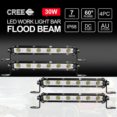 "Pair 7"" inch 30W FLOOD LED Light Bar CREE Super Slim Offroad Work Lamp 12V 24V"