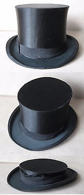 Antique German Silk Colapsible Opera Top Hat Gibus / Size 57.5 - 7 1/8 - M /rare