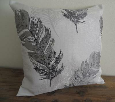 Scandi Two Tone Grey Peacock Feather Brocade Look Cushion Cover 45cm