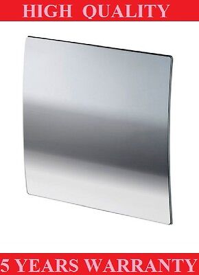 "POLISHED CHROME SILENT BATHROOM EXTRACTOR FAN WITH TIMER 100mm/4"",WALL/CEILING"