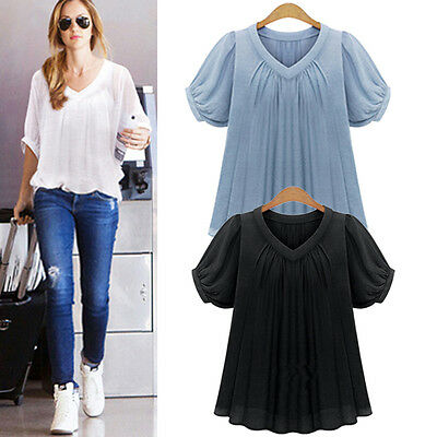 Plus Size Women's Loose Casual Short Sleeve Sexy T Shirt Blouse Ladies Tee Tops