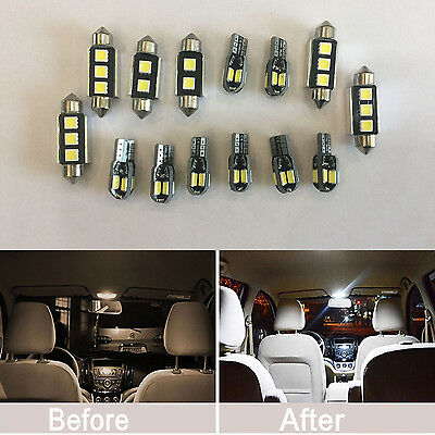 14pcs FULL LED Interior Lights SMD Bulbs White for BMW E46 Saloon + Coupe + M3