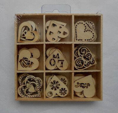 Box of 45 Assorted Mini Wooden LOVE Heart Shapes Craft Wedding Embellishments