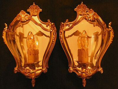 Pair Of Sconces Lantern Louis Xv Style - Bronze & Glass - French Antique