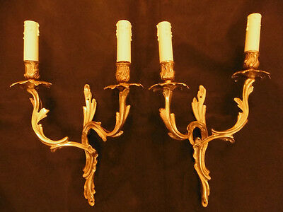 LARGE PAIR OF SCONCES, LOUIS XV STYLE, 19TH -BRONZE- FRENCH ANTIQUE - 16.35 inch