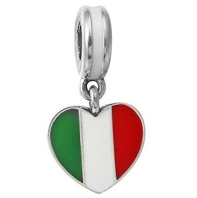 Italy Italian Flag Love Heart Dangling Pendant Charm For Bracelets Silver Plated