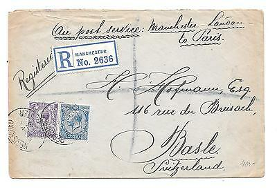 Great Britain -- Registered -- Manchester To Sweitzerland -- 1924