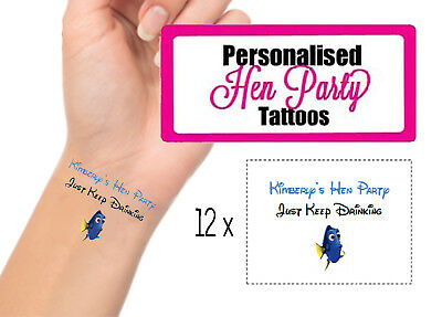 12 Personalised Disney Hen Party Temporary Tattoos Dory Funny Gift Transfer Nemo