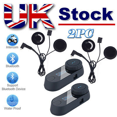 2x 800M Intercom FDC BT Motorcycle Helmet Bluetooth Interphone LCD Screen+FM UK