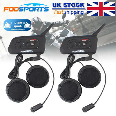 2X 6 Riders 1200M BT Motorcycle Helmet Bluetooth Headset Intercom Interphone UK