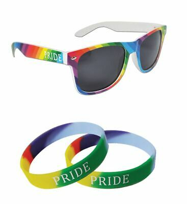 Gay Pride Duo Pack Rainbow Drifter Sunglasses 2 x Wristbands