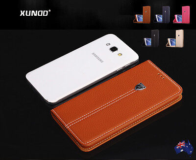J7 A8 A9 Pro Case, Genuine XUNDD Magnetic Wallet Flip Leather Cover for Samsung