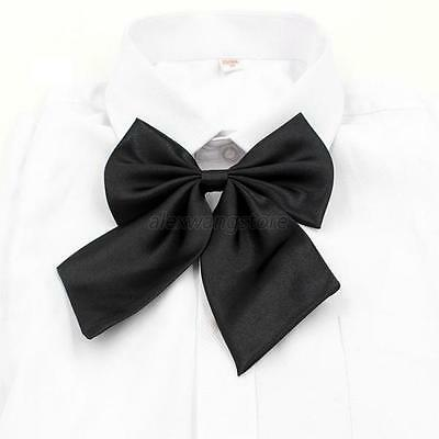 Womens Girls Solid Color Bowtie Dancing Party Adjustable Necktie Shirt Bow Tie