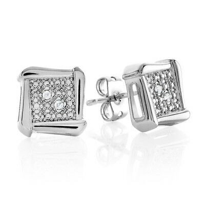 Natural Diamond Accent Fashion Stud Earrings in Platinum-Plated Bronze