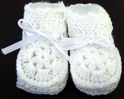 Baby Knitted Crochet Booties Newborn Size  - White Color 12 Pairs Lot (00215W ^)