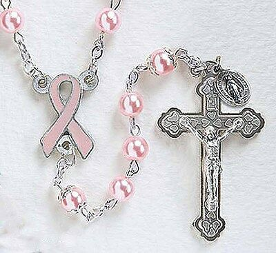 Breast Cancer Pink Ribbon Rosary (JC000RSRY321) NEW