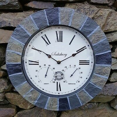 SLATE EFFECT GARDEN WALL CLOCK & THERMOMETER & HUMIDITY INDOOR OUTDOOR 35cm
