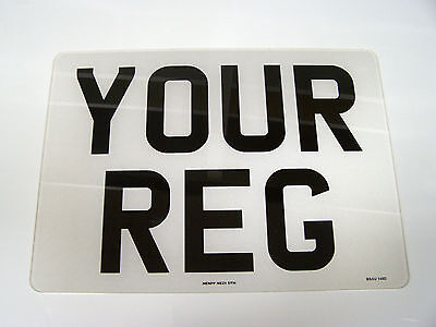 SQUARE FRONT PLATE NUMBER PLATE 11 x 8 WHITE REG PLATE 1ST CLASS FREEPOST
