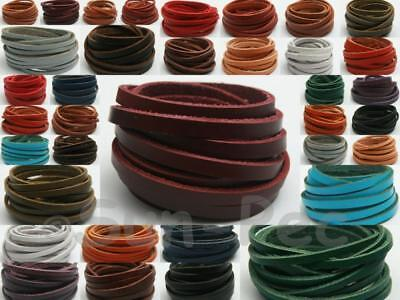 DIY Flat Real Hide Leather Cord Thong Jewelry Crafts 18 color options 3/4/5mm