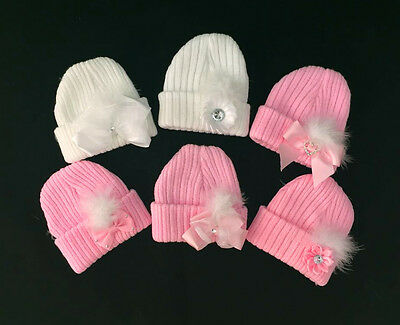 First Size Baby Girl's White/Pink Wool Hat with Bow&Feather/Newborn/One Supplied