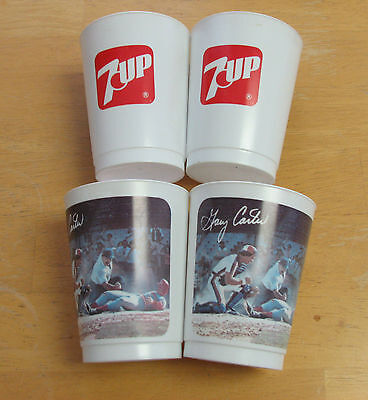 Vintage Gary Carter Plastic Cup 7 Up lot of 4 cup excellent condition