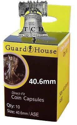 10 American Silver Eagle 1oz Coin Capsule Direct Fit GUARDHOUSE Holder 40.6mm