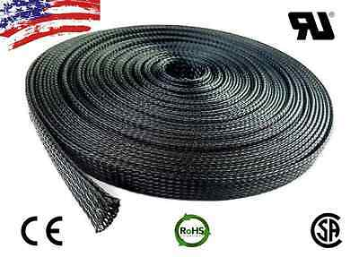 """25 FT 3/8"""" Black Expandable Wire Cable Sleeving Sheathing Braided Loom Tubing US"""