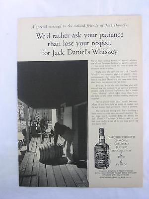 "Vtg Jack Daniel's  Dec 1 '58 Magazine Ad ""a Special Message To Valued Friends"""