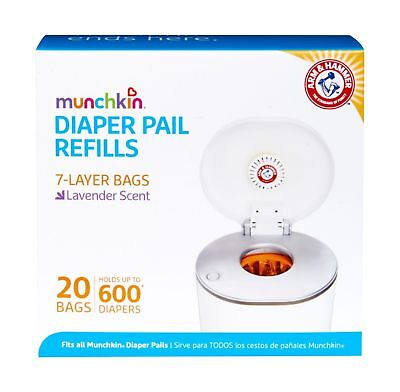 Munchkin Arm & Hammer Diaper Pail Snap, Seal and Toss Refill Bags, 600 Count, 20