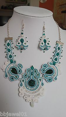 Handmade soutache necklace and earrings with swarovski crystals (white,green)