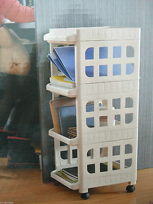 Large 3 / 4 Drawer Tower Plastic Storage Unit Convenient Office Home Mobile