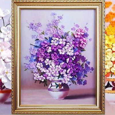 50x58cm 3D Silk Ribbon Purple Flower Cross Stitch Kit Embroidery DIY Handwork Ho
