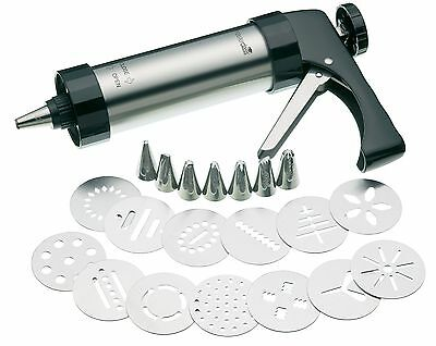 Master Class Deluxe Stainless Steel Cookie Press / Icing Gun Set (22 Pieces)
