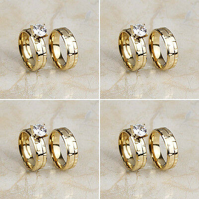 4 Pair/Lot Stainless Steel 18K Gold Plated CZ Band Wedding Rings Set Wholesale