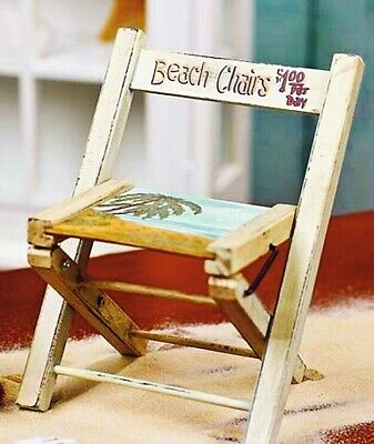 """ADVERTISING BEACH CHAIR DOLL or FAIRY GARDEN Wooden Folding PAINTED SCENE 7.5"""""""