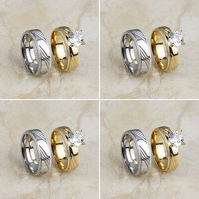 4 Pair/Lot Stainless Steel Fashion Gold Silver Wedding Band Rings Set Wholesale