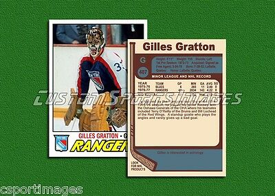 Gilles Gratton - New York Rangers - Custom Hockey Card  - 1976-77