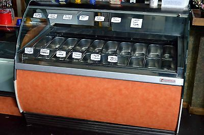 Oscartielli 18-pan commercial Gelato freezer/display case with pans/scoops/cups