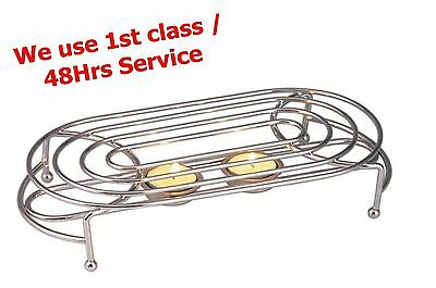 Oval Double Food Warmer Rack Stand Chrome Use with Two Tea Light Candles Chafing
