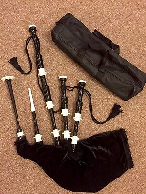 Full Size Highland Great Bagpipe Rosewood Black Colour With Free Carry Bag