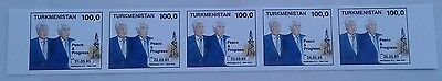 Turkmenistan #32 PRESIDENT'S USA VISIT WITH BILL CLINTON IMPERF STRIP OF 5 STAMP