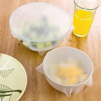 NEW 4PCS/SET Silicone Wraps Seal Cover Stretch Cling Film Keep Food Fresh