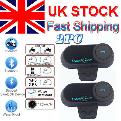 2x 800m Interphone BT Bluetooth Motorbike Motorcycle Helmet Intercom+FM Radio