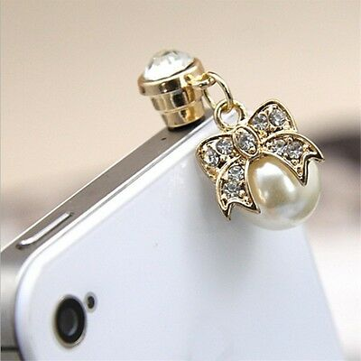 3.5mm Cute Dust Plug For Mobile Phones Crystal Imitation Pearls Dust Plug Charm