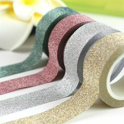 10M DIY Craft Decorative Glitter Washi Sticky Paper Adhesive Tape Label Supplies