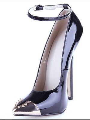 Womens Patent Leather Rivet Pointed Toe Super High Heel Club Stylish Shoes Size