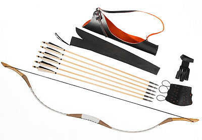 Archery Set Hunting Recurve Bow White Pigskin Longbow 20-110lb 6 Wood Arrows