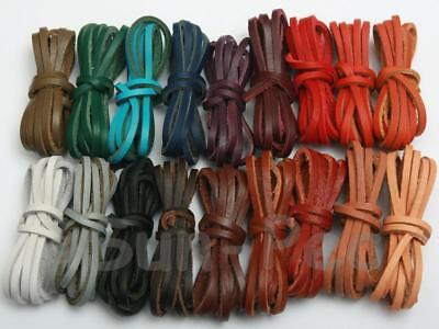 1m Genuine Hide Leather Flat Cord Rope DIY Jewelry Crafts 3mm 4mm 5mm options