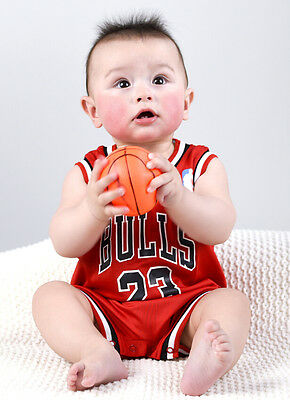 Baby Basketball Romper Jumpsuit Jersey Chicago Bulls - Michael Jordan (with bib)